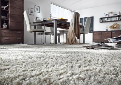 Teppichboden im Esszimmer, Essbereich. Grauer Teppich.